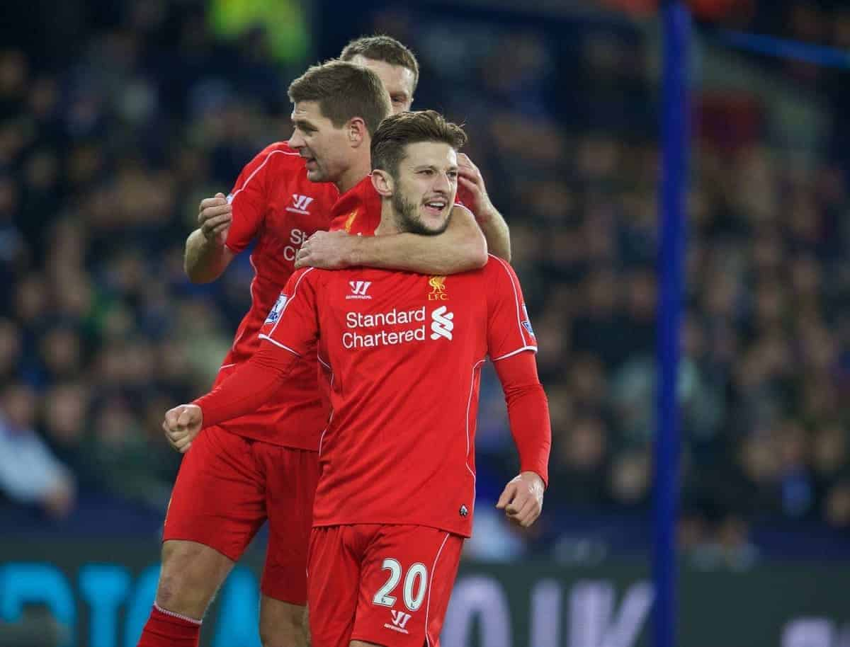 LEICESTER, ENGLAND - Tuesday, December 2, 2014: Liverpool's Adam Lallana celebrates scoring the first equalising goal against Leicester City during the Premier League match at Filbert Way. (Pic by David Rawcliffe/Propaganda)