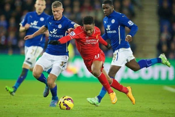 LEICESTER, ENGLAND - Tuesday, December 2, 2014: Liverpool's Raheem Sterling in action against Leicester City's Paul Konchesky during the Premier League match at Filbert Way. (Pic by David Rawcliffe/Propaganda)