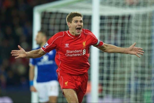 Liverpool's captain Steven Gerrard celebrates scoring the second goal against Leicester City during the Premier League match at Filbert Way. (Pic by David Rawcliffe/Propaganda)