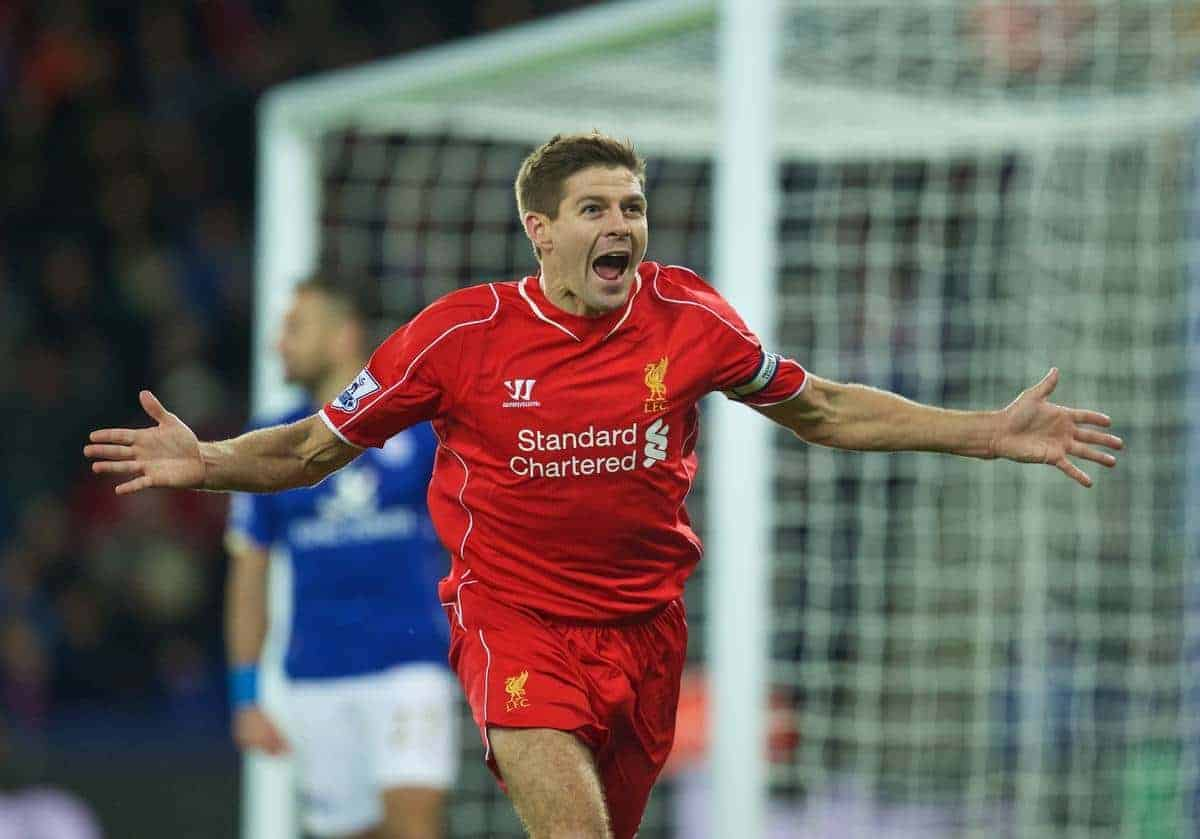 LEICESTER, ENGLAND - Tuesday, December 2, 2014: Liverpool's captain Steven Gerrard celebrates scoring the second goal against Leicester City during the Premier League match at Filbert Way. (Pic by David Rawcliffe/Propaganda)