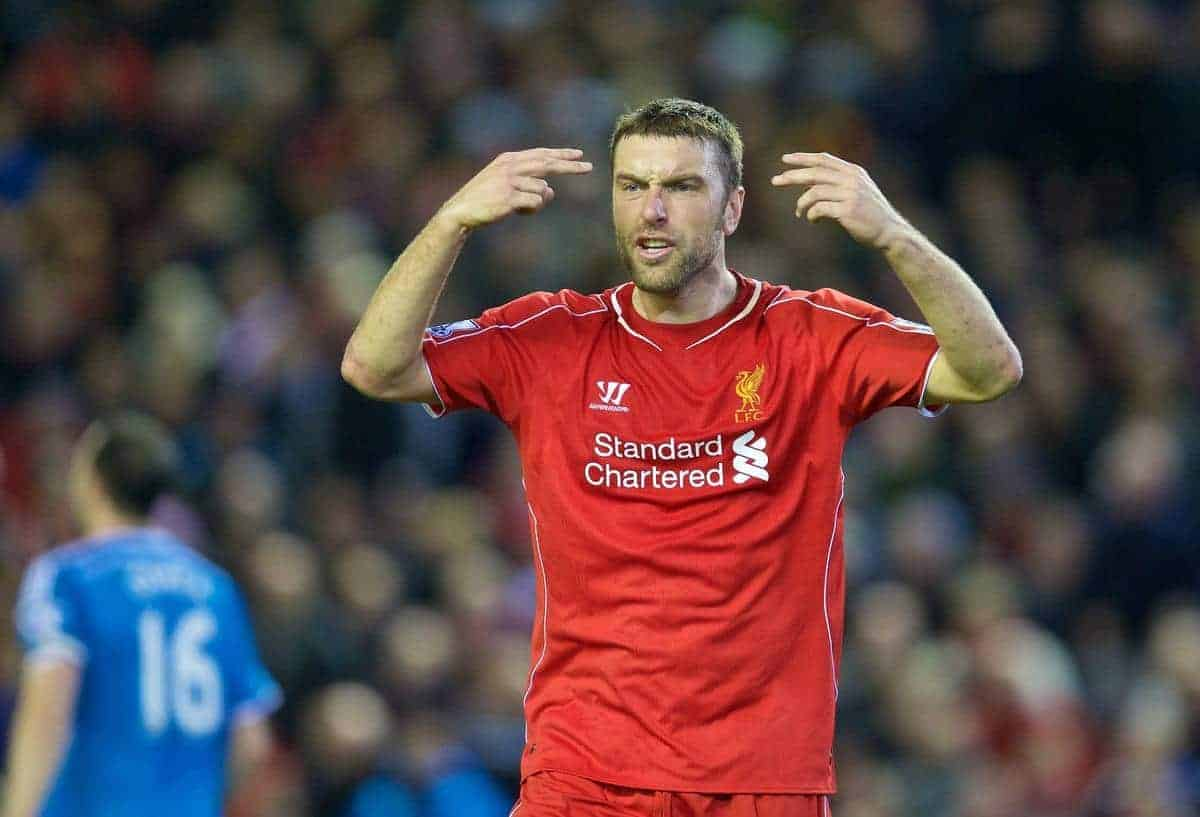 LIVERPOOL, ENGLAND - Saturday, December 6, 2014: Liverpool's Rickie Lambert shows his frustration at the assistant referee as his side are held to a goal-less draw against Sunderland during the Premier League match at Anfield. (Pic by David Rawcliffe/Propaganda)