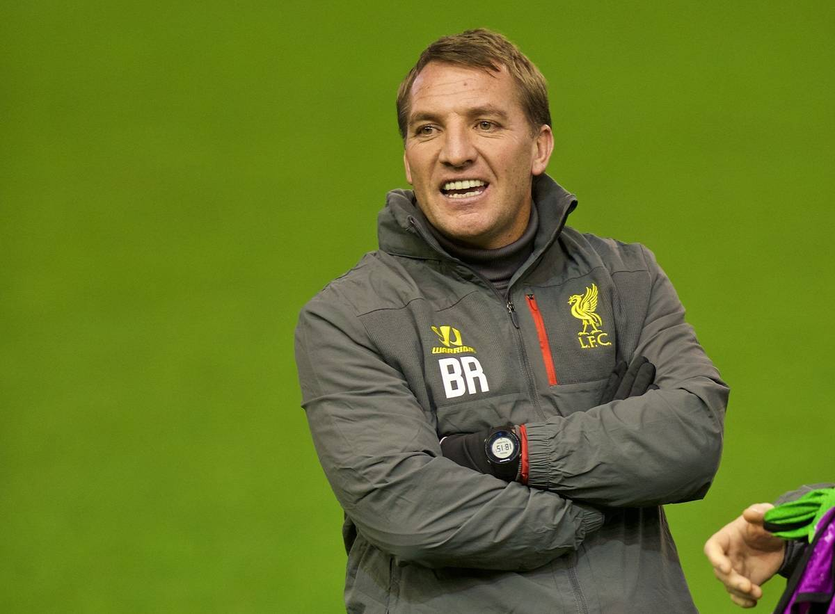 LIVERPOOL, ENGLAND - Monday, December 8, 2014: Liverpool's manager Brendan Rodgers during a training session at Anfield ahead of the final UEFA Champions League Group B match against FC Basel. (Pic by David Rawcliffe/Propaganda)