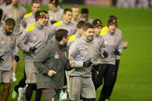 LIVERPOOL, ENGLAND - Monday, December 8, 2014: Liverpool's captain Steven Gerrard during a training session at Anfield ahead of the final UEFA Champions League Group B match against FC Basel. (Pic by David Rawcliffe/Propaganda)