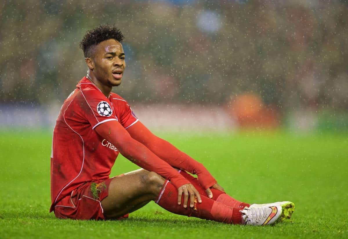 LIVERPOOL, ENGLAND - Tuesday, December 9, 2014: Liverpool's Raheem Sterling looks dejected against FC Basel during the final UEFA Champions League Group B match at Anfield. (Pic by David Rawcliffe/Propaganda)