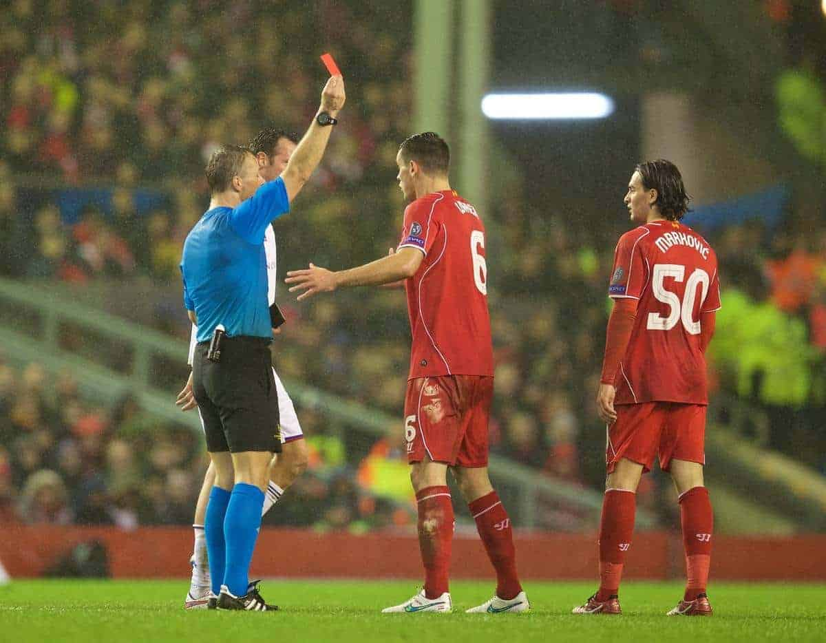 LIVERPOOL, ENGLAND - Tuesday, December 9, 2014: Liverpool's Lazar Markovic is shown a red card and sent off against FC Basel during the final UEFA Champions League Group B match at Anfield. (Pic by David Rawcliffe/Propaganda)