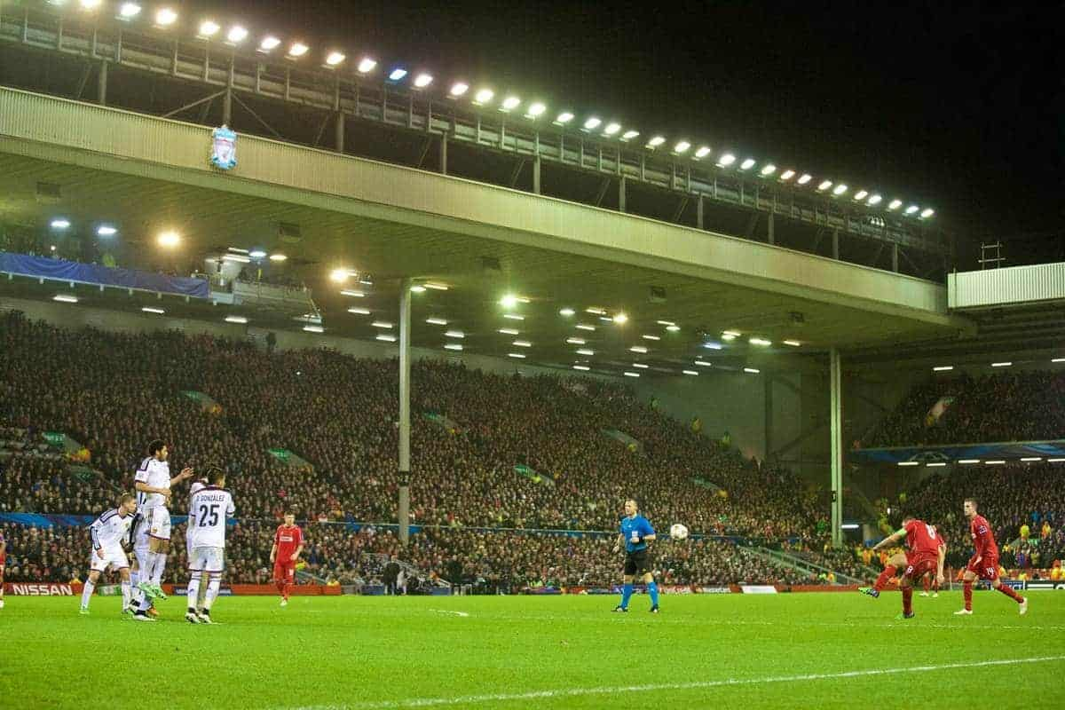 LIVERPOOL, ENGLAND - Tuesday, December 9, 2014: Liverpool's captain Steven Gerrard scores the equalising goal against FC Basel to level the score 1-1 during the final UEFA Champions League Group B match at Anfield. (Pic by David Rawcliffe/Propaganda)