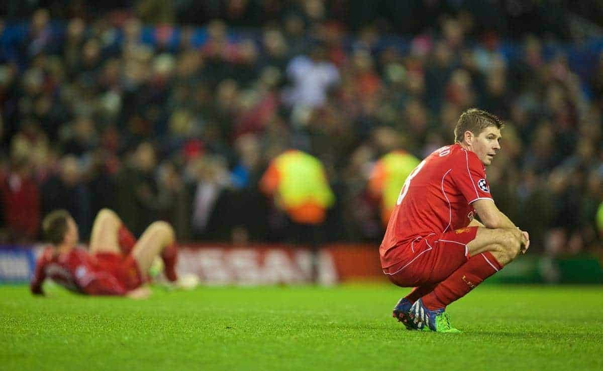 LIVERPOOL, ENGLAND - Tuesday, December 9, 2014: Liverpool's captain Steven Gerrard looks dejected as they draw 1-1 with FC Basel and are knocked out of the UEFA Champions League and are forced to suffer the ignominy of the Europa League at Anfield. (Pic by David Rawcliffe/Propaganda)
