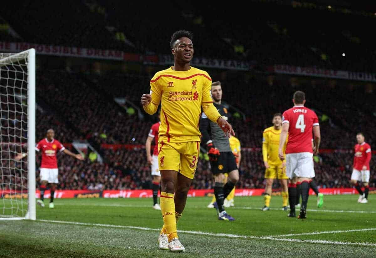 MANCHESTER, ENGLAND - Sunday, December 14, 2014: Liverpool's Raheem Sterling looks dejected after missing a chance against Manchester United during the Premier League match at Old Trafford. (Pic by David Rawcliffe/Propaganda)