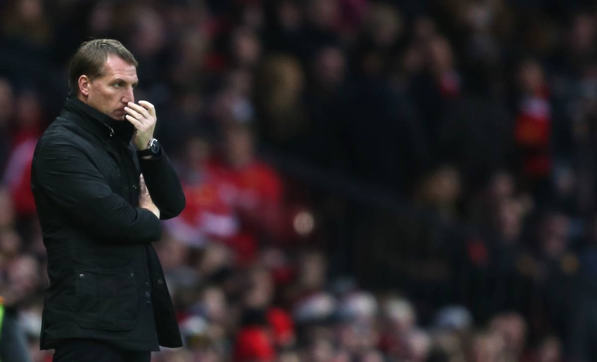 MANCHESTER, ENGLAND - Sunday, December 14, 2014: Liverpool's manager Brendan Rodgers during the Premier League match against Manchester United at Old Trafford. (Pic by David Rawcliffe/Propaganda)