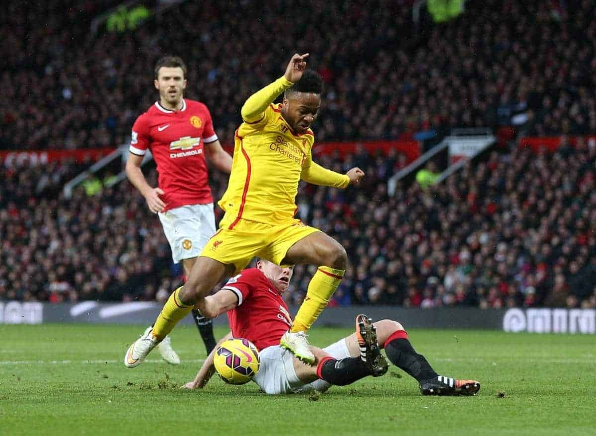 MANCHESTER, ENGLAND - Sunday, December 14, 2014: Liverpool's Raheem Sterling in action against Manchester United during the Premier League match at Old Trafford. (Pic by David Rawcliffe/Propaganda)