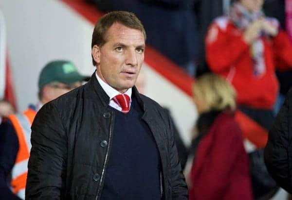 BOURNEMOUTH, ENGLAND - Wednesday, December 17, 2014: Liverpool's manager Brendan Rodgers before the Football League Cup 5th Round match against AFC Bournemouth at Dean Court. (Pic by David Rawcliffe/Propaganda)