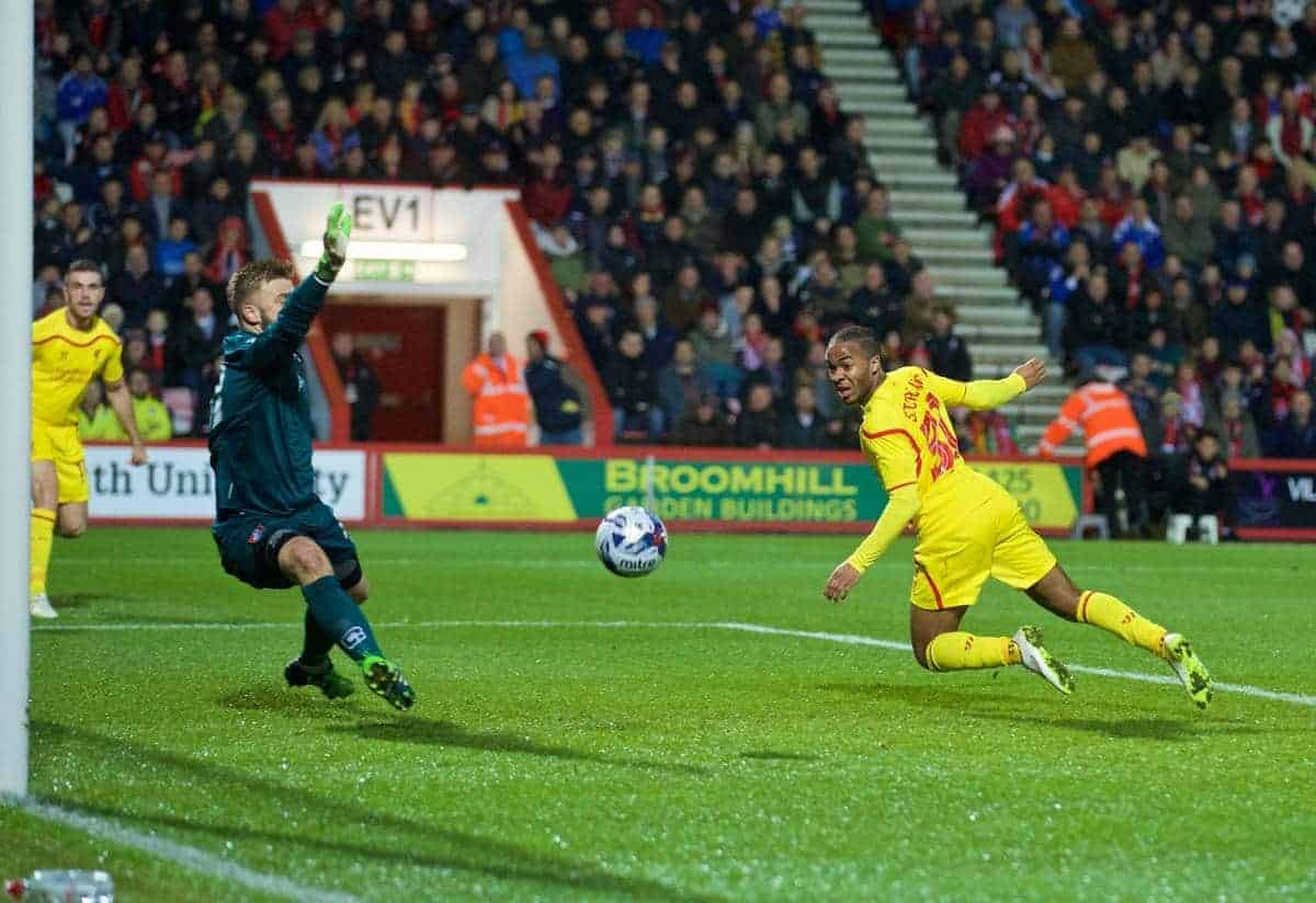 BOURNEMOUTH, ENGLAND - Wednesday, December 17, 2014: Liverpool's Raheem Sterling scores the first goal against Bournemouth during the Football League Cup 5th Round match at Dean Court. (Pic by David Rawcliffe/Propaganda)