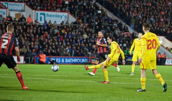 BOURNEMOUTH, ENGLAND - Wednesday, December 17, 2014: Liverpool's Lazar Markovic scores the second goal against Bournemouth during the Football League Cup 5th Round match at Dean Court. (Pic by David Rawcliffe/Propaganda)