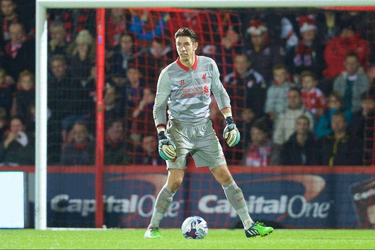BOURNEMOUTH, ENGLAND - Wednesday, December 17, 2014: Liverpool's goalkeeper Brad Jones slips as he controls the ball against Bournemouth during the Football League Cup 5th Round match at Dean Court. (Pic by David Rawcliffe/Propaganda)