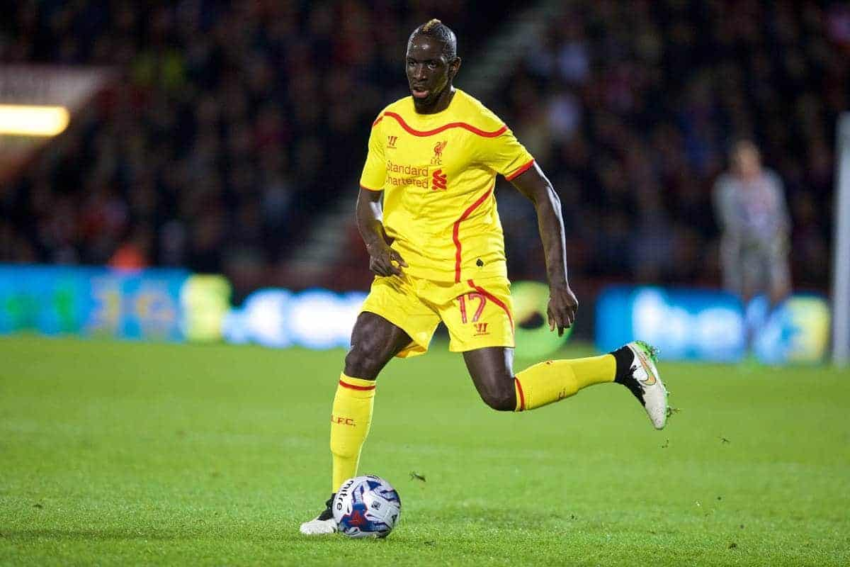 BOURNEMOUTH, ENGLAND - Wednesday, December 17, 2014: Liverpool's Mamadou Sakho in action against Bournemouth during the Football League Cup 5th Round match at Dean Court. (Pic by David Rawcliffe/Propaganda)