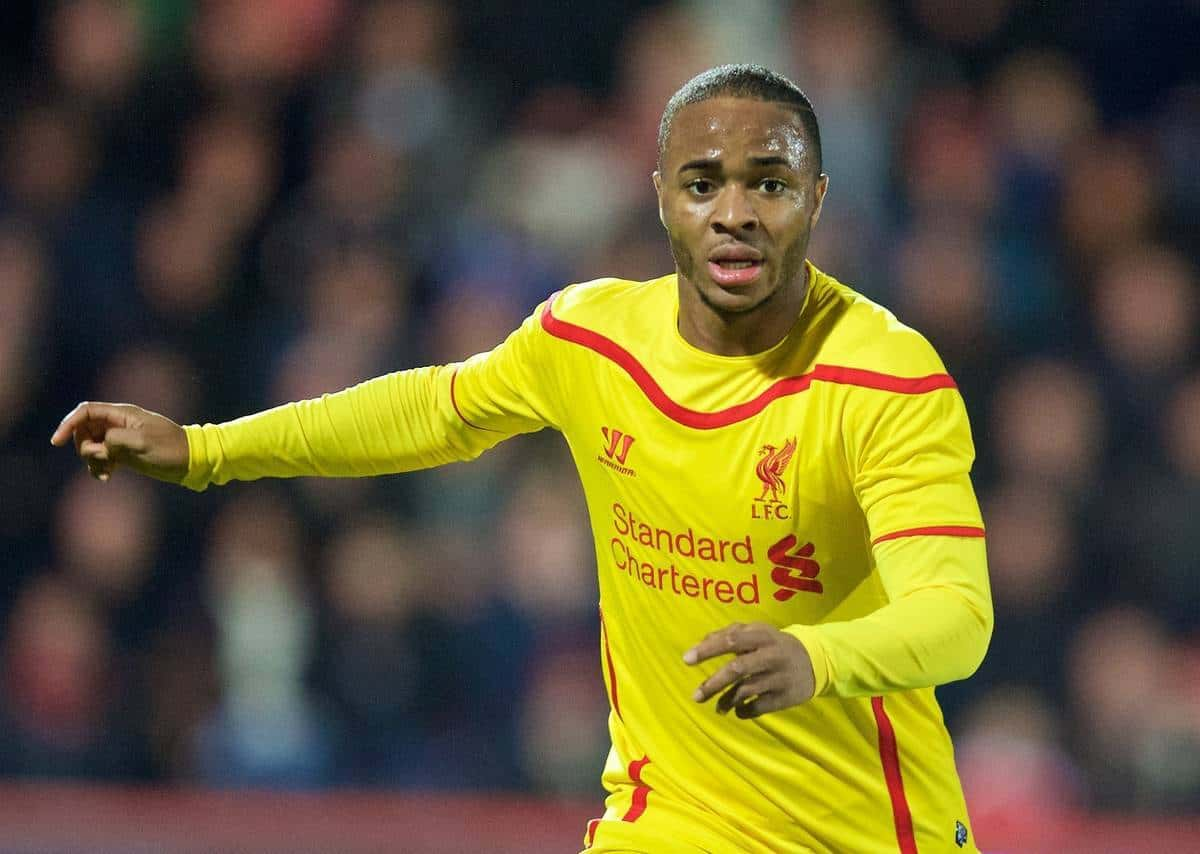 BOURNEMOUTH, ENGLAND - Wednesday, December 17, 2014: Liverpool's Raheem Sterling in action against Bournemouth during the Football League Cup 5th Round match at Dean Court. (Pic by David Rawcliffe/Propaganda)