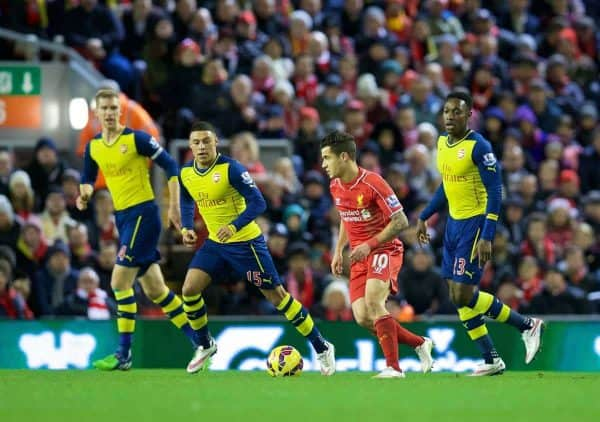 LIVERPOOL, ENGLAND - Sunday, December 21, 2014: Liverpool's Philippe Coutinho Correia in action against Arsenal during the Premier League match at Anfield. (Pic by David Rawcliffe/Propaganda)