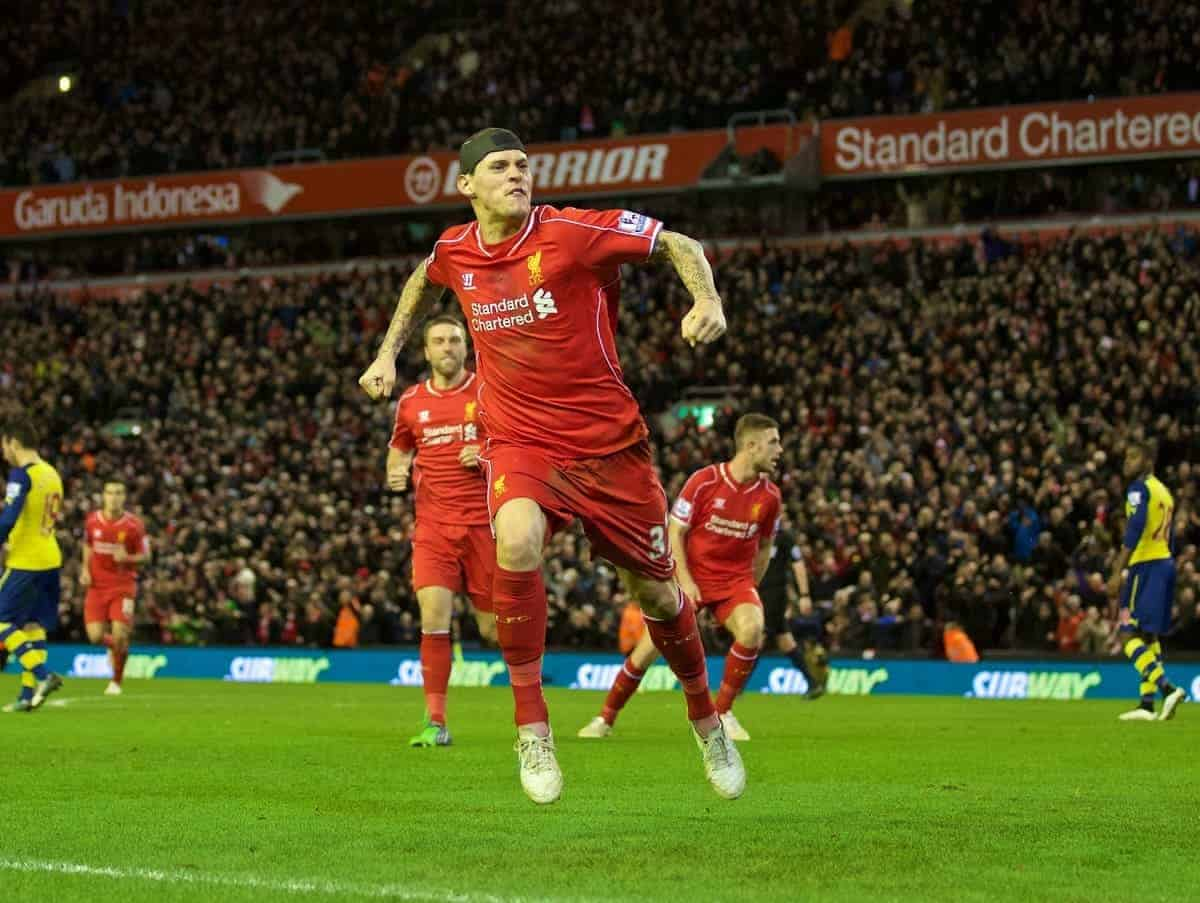 LIVERPOOL, ENGLAND - Sunday, December 21, 2014: Liverpool's Martin Skrtel celebrates scoring the second goal against Arsenal during the Premier League match at Anfield. (Pic by David Rawcliffe/Propaganda)
