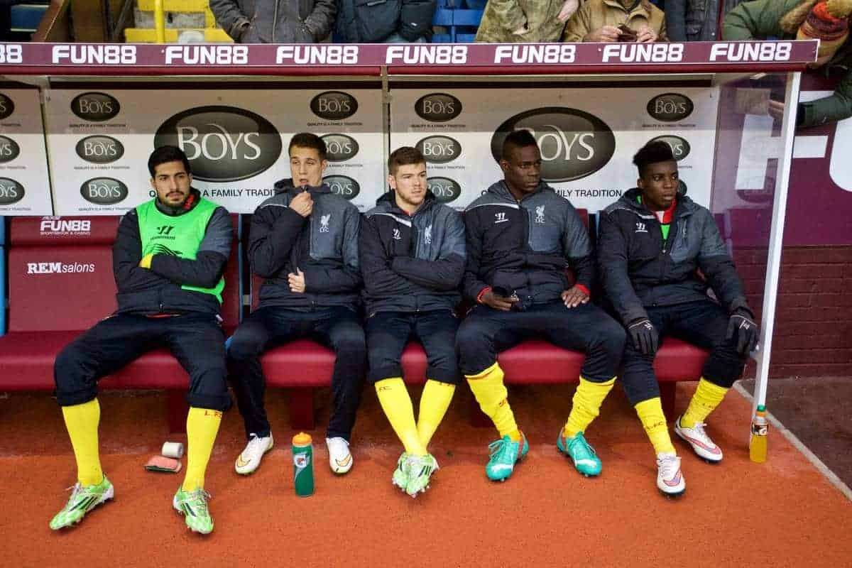 BURNLEY, ENGLAND - Boxing Day, Friday, December 26, 2014: Liverpool's substitutes Emre Can, Javier Manquillo, Alberto Moreno, Mario Balotelli and Sheyi Ojo before the Premier League match against Burnley at Turf Moor. (Pic by David Rawcliffe/Propaganda)