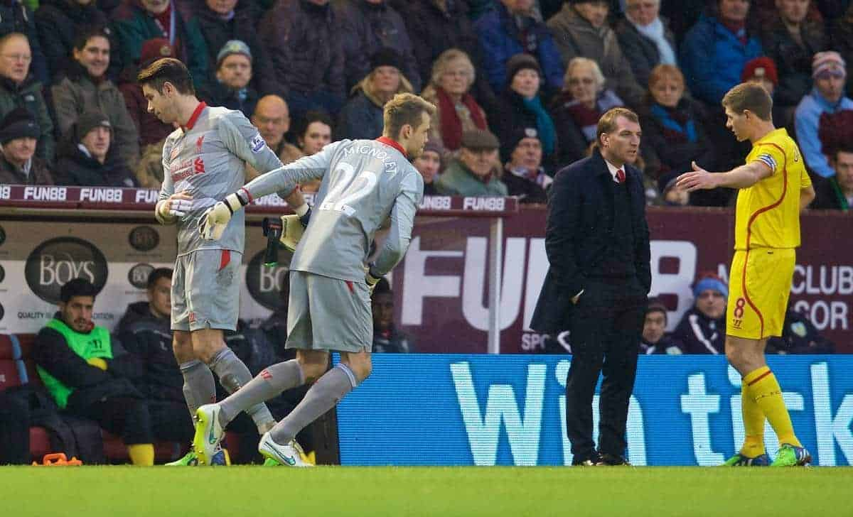 BURNLEY, ENGLAND - Boxing Day, Friday, December 26, 2014: Liverpool's goalkeeper Brad Jones is replaced by substitute goalkeeper Simon Mignolet against Burnley during the Premier League match at Turf Moor. (Pic by David Rawcliffe/Propaganda)