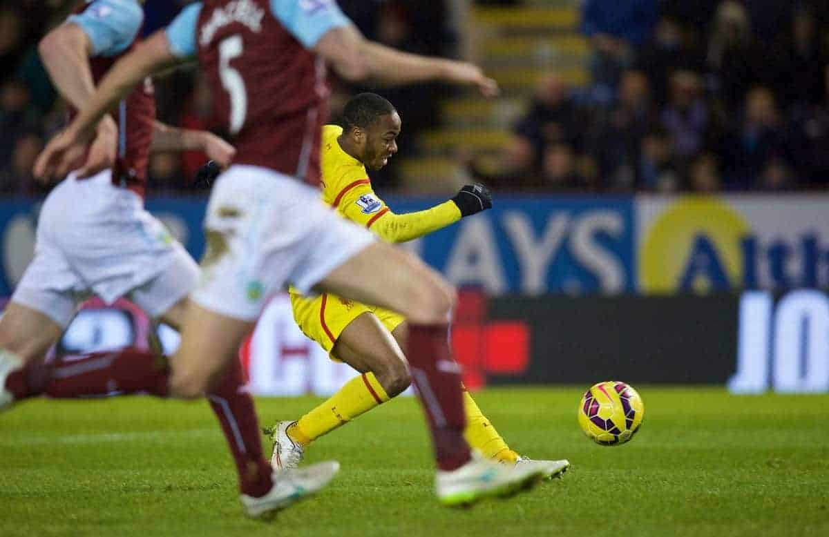 BURNLEY, ENGLAND - Boxing Day, Friday, December 26, 2014: Liverpool's Raheem Sterling scores the first goal against Burnley during the Premier League match at Turf Moor. (Pic by David Rawcliffe/Propaganda)