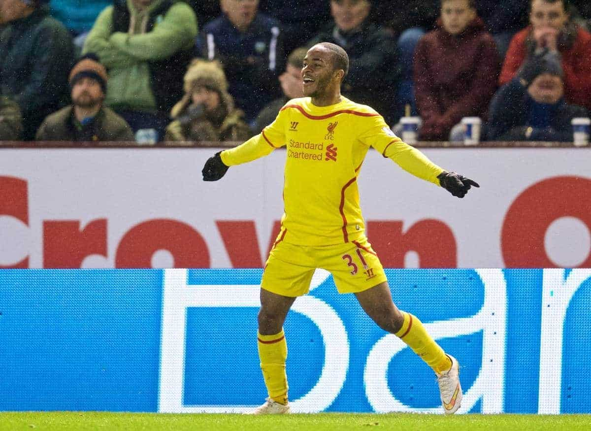 BURNLEY, ENGLAND - Boxing Day, Friday, December 26, 2014: Liverpool's Raheem Sterling celebrates scoring the first goal against Burnley during the Premier League match at Turf Moor. (Pic by David Rawcliffe/Propaganda)