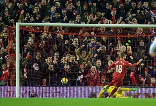LIVERPOOL, ENGLAND - Monday, December 29, 2014: Liverpool's Alberto Moreno celebrates scoring the first goal against Swansea City during the Premier League match at Anfield. (Pic by David Rawcliffe/Propaganda)
