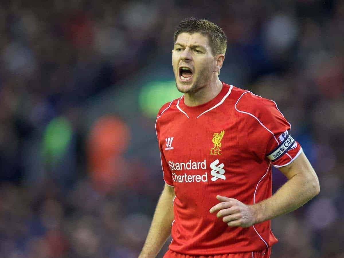 LIVERPOOL, ENGLAND - Thursday, New Year's Day, January 1, 2015: Liverpool's captain Steven Gerrard in action against Leicester City during the Premier League match at Anfield. (Pic by David Rawcliffe/Propaganda)