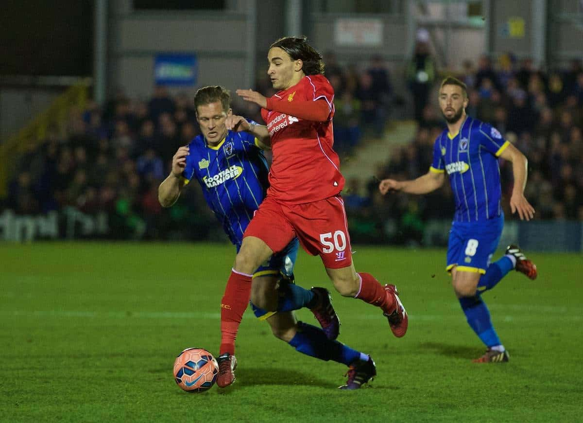 KINGSTON-UPON-THAMES, ENGLAND - Monday, January 5, 2015: Liverpool's Lazar Markovic in action against AFC Wimbledon during the FA Cup 3rd Round match at the Kingsmeadow Stadium. (Pic by David Rawcliffe/Propaganda)