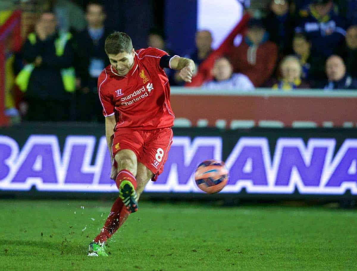 KINGSTON-UPON-THAMES, ENGLAND - Monday, January 5, 2015: Liverpool's captain Steven Gerrard scores the second goal against AFC Wimbledon during the FA Cup 3rd Round match at the Kingsmeadow Stadium. (Pic by David Rawcliffe/Propaganda)