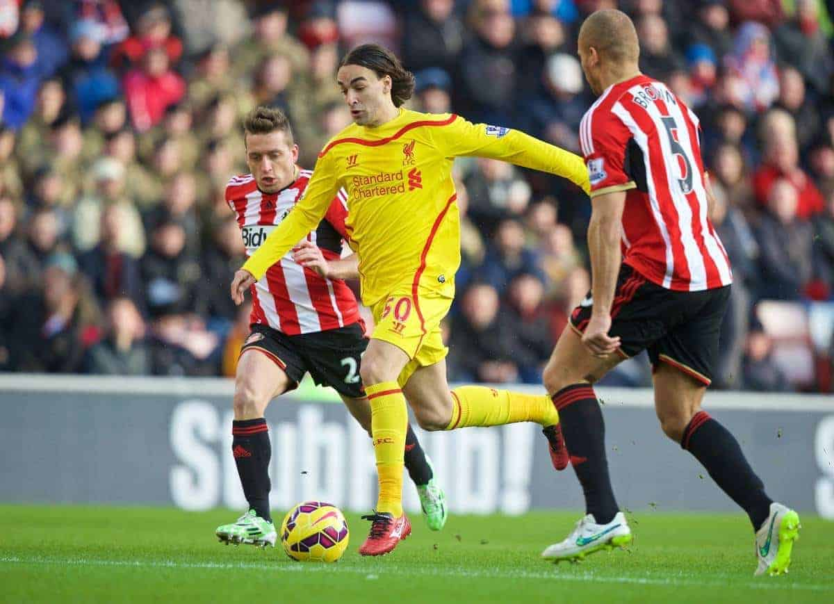 SUNDERLAND, ENGLAND - Saturday, January 10, 2015: Liverpool's Lazar Markovic in action against Sunderland during the Premier League match at the Stadium of Light. (Pic by David Rawcliffe/Propaganda)