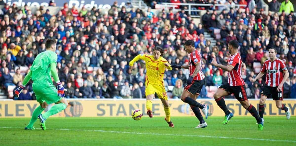 SUNDERLAND, ENGLAND - Saturday, January 10, 2015: Liverpool's Lazar Markovic scores the first goal against Sunderland during the Premier League match at the Stadium of Light. (Pic by David Rawcliffe/Propaganda)