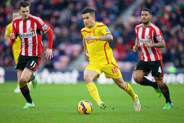 SUNDERLAND, ENGLAND - Saturday, January 10, 2015: Liverpool's Philippe Coutinho Correia in action against Sunderland during the Premier League match at the Stadium of Light. (Pic by David Rawcliffe/Propaganda)