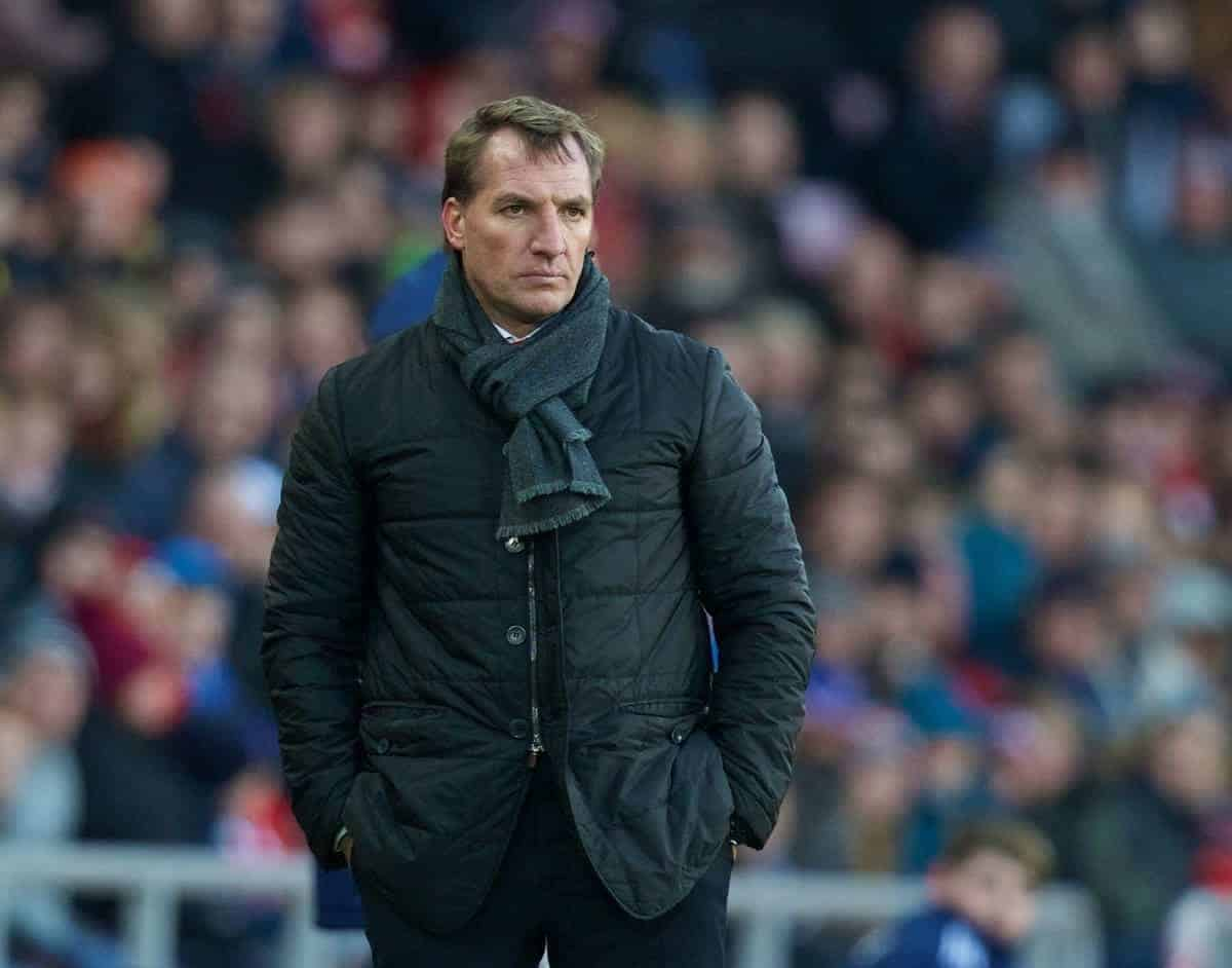 SUNDERLAND, ENGLAND - Saturday, January 10, 2015: Liverpool's manager Brendan Rodgers during the Premier League match against Sunderland at the Stadium of Light. (Pic by David Rawcliffe/Propaganda)