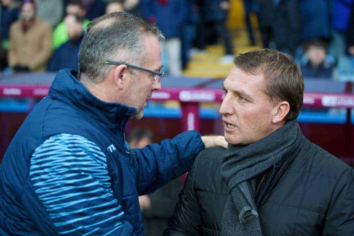 BIRMINGHAM, ENGLAND - Saturday, January 17, 2015: Liverpool's manager Brendan Rodgers and Aston Villa's manager Paul Lambert before the Premier League match at Villa Park. (Pic by David Rawcliffe/Propaganda)