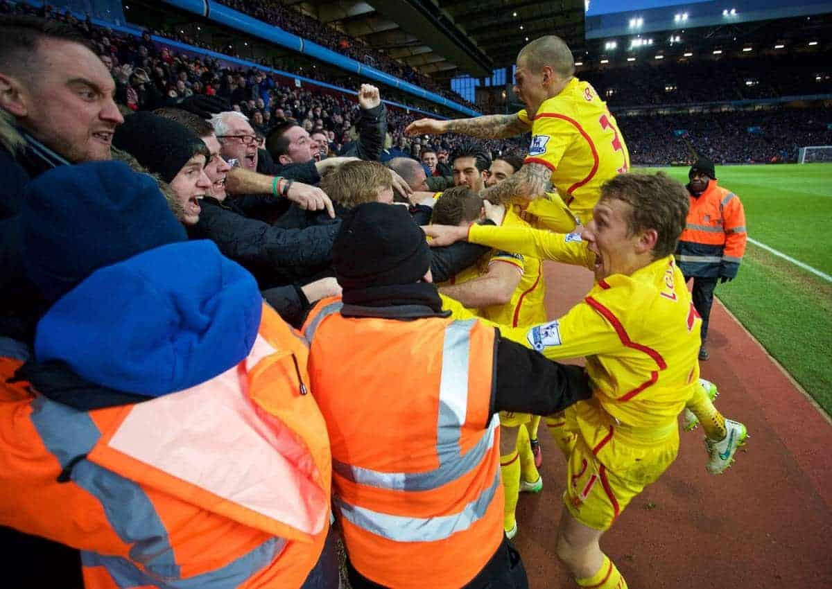 BIRMINGHAM, ENGLAND - Saturday, January 17, 2015: Liverpool's Rickie Lambert celebrates scoring the second goal against Aston Villa during the Premier League match at Villa Park. (Pic by David Rawcliffe/Propaganda)