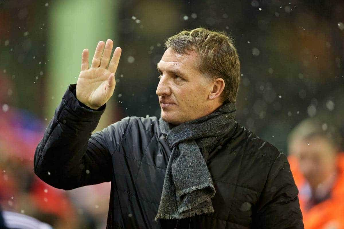 LIVERPOOL, ENGLAND - Tuesday, January 20, 2015: Liverpool's manager Brendan Rodgers before the Football League Cup Semi-Final 1st Leg match against Chelsea at Anfield. (Pic by David Rawcliffe/Propaganda)