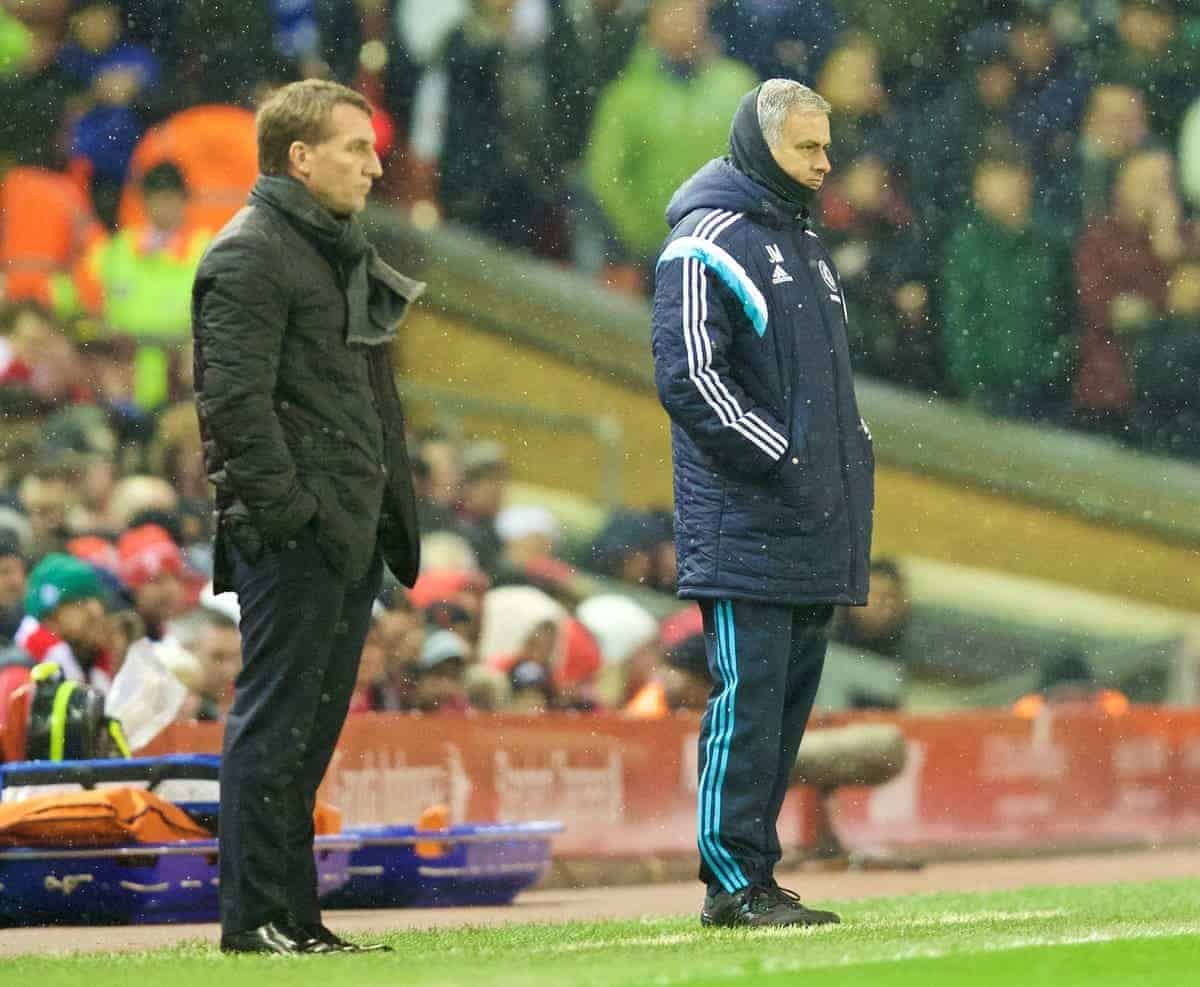 LIVERPOOL, ENGLAND - Tuesday, January 20, 2015: Chelsea's manager Jose Mourinho during the Football League Cup Semi-Final 1st Leg match against Liverpool at Anfield. (Pic by David Rawcliffe/Propaganda)