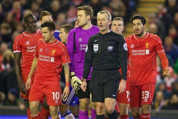 LIVERPOOL, ENGLAND - Tuesday, January 20, 2015: Referee Martin Atkinson awards Chelsea a penalty during the Football League Cup Semi-Final 1st Leg match against Liverpool at Anfield. (Pic by David Rawcliffe/Propaganda)