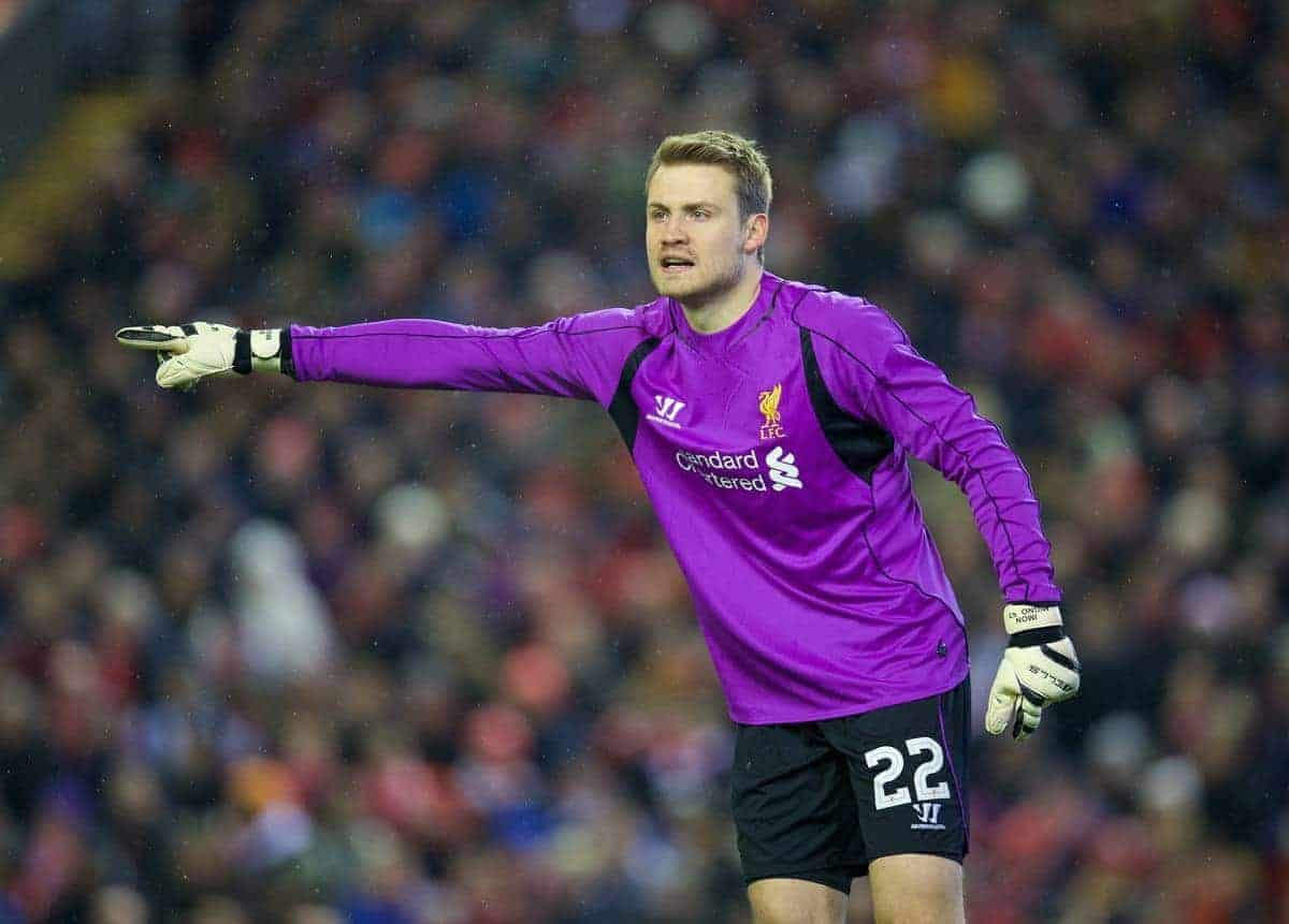 LIVERPOOL, ENGLAND - Tuesday, January 20, 2015: Liverpool's goalkeeper Simon Mignolet in action against Chelsea during the Football League Cup Semi-Final 1st Leg match at Anfield. (Pic by David Rawcliffe/Propaganda)