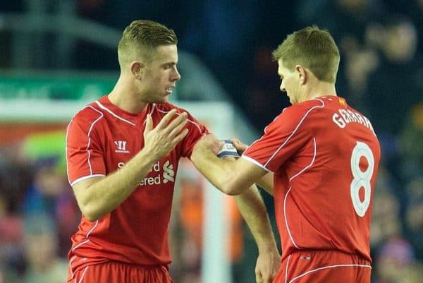 LIVERPOOL, ENGLAND - Tuesday, January 20, 2015: Liverpool's captain Steven Gerrard hands the armband to Jordan Henderson as he is substituted against Chelsea during the Football League Cup Semi-Final 1st Leg match at Anfield. (Pic by David Rawcliffe/Propaganda)