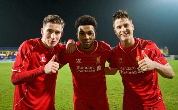 CHESTER, ENGLAND - Wednesday, January 21, 2015: Liverpool's goal scorers Harry Wilson (2), Jerome Sinclair (2) and Sergi Canos celebrate after the 5-2 victory over Derby County during the FA Youth Cup 4th Round match at the Deva Stadium. (Pic by David Rawcliffe/Propaganda)