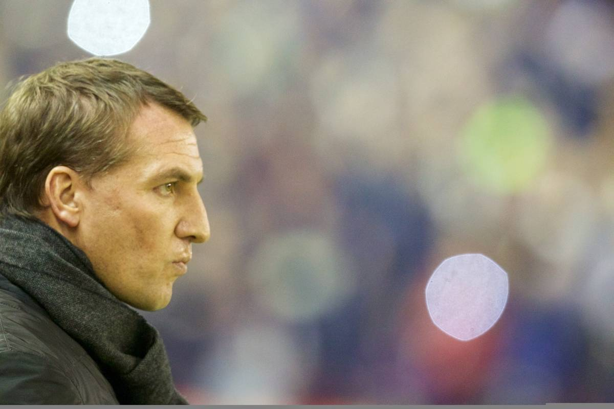LIVERPOOL, ENGLAND - Saturday, January 24, 2015: Liverpool's manager Brendan Rodgers before the FA Cup 4th Round match against Bolton Wanderers at Anfield. (Pic by Lindsey Parnaby/Propaganda)