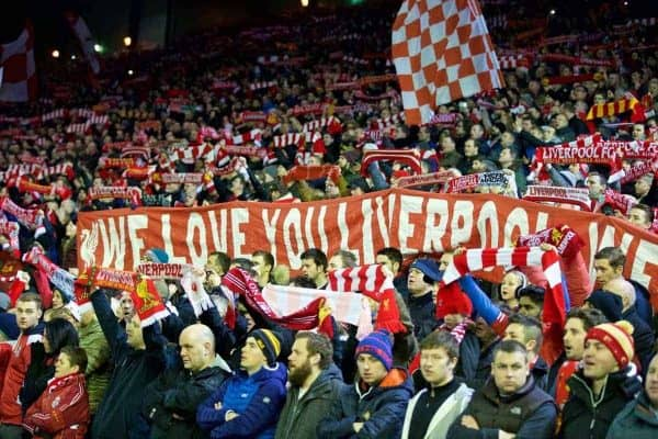 LIVERPOOL, ENGLAND - Saturday, January 24, 2015: Liverpool supporters' banner on the Spion Kop during the FA Cup 4th Round match against Bolton Wanderers at Anfield. (Pic by Lindsey Parnaby/Propaganda)
