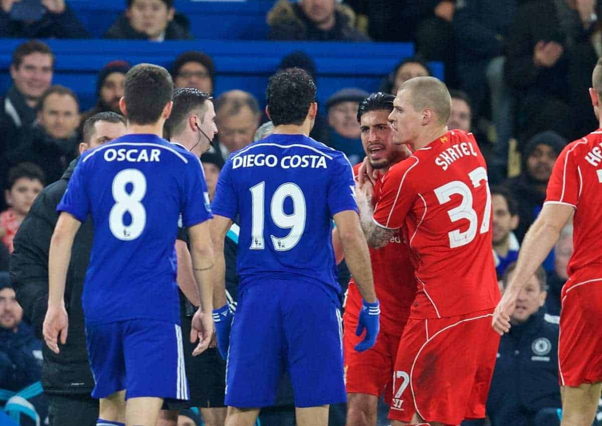 LONDON, ENGLAND - Tuesday, January 27, 2015: Liverpool's Emre Can clashes with Chelsea's Diego Costa during the Football League Cup Semi-Final 2nd Leg match at Stamford Bridge. (Pic by David Rawcliffe/Propaganda)