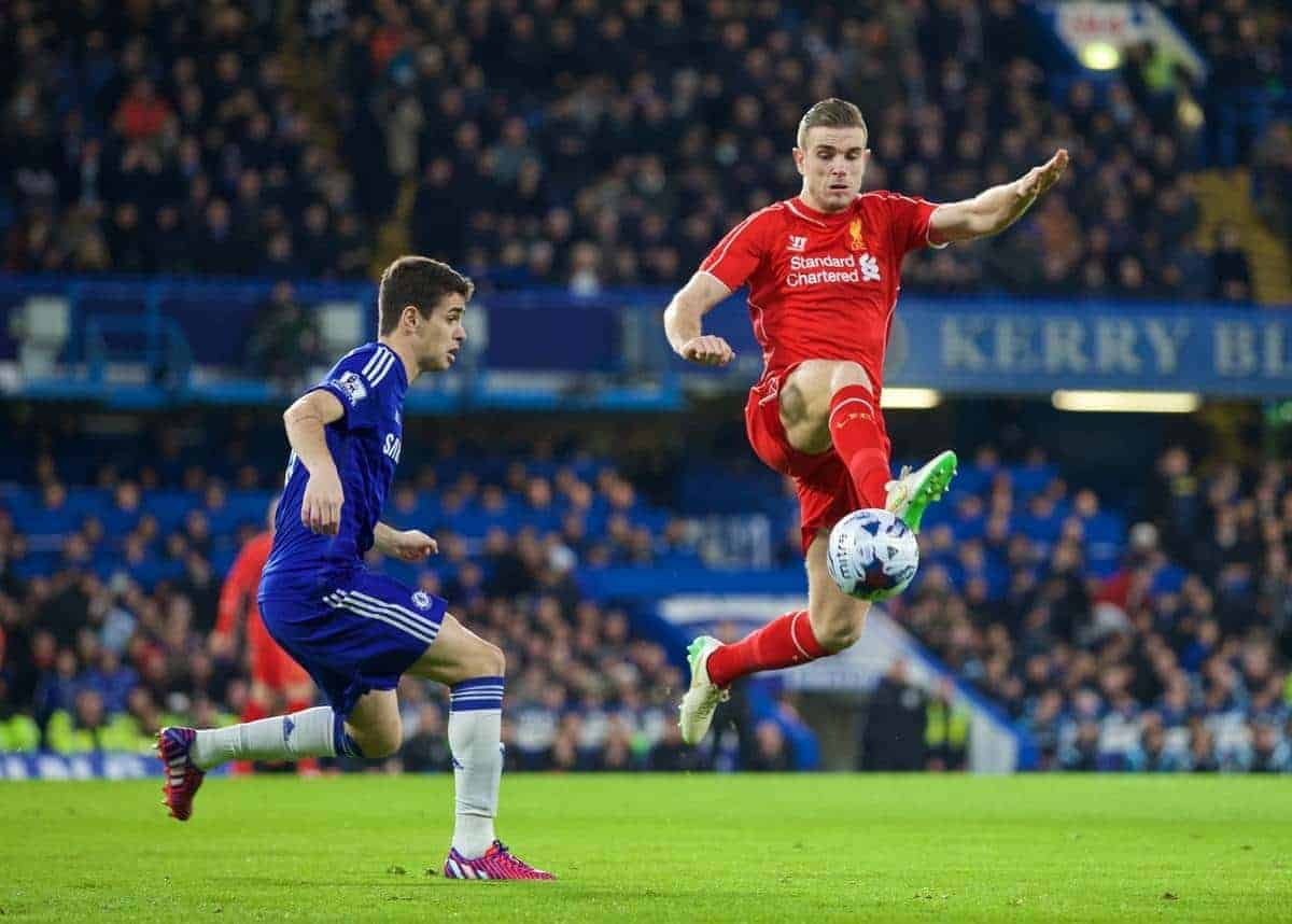 LONDON, ENGLAND - Tuesday, January 27, 2015: Liverpool's Jordan Henderson in action against Chelsea during the Football League Cup Semi-Final 2nd Leg match at Stamford Bridge. (Pic by David Rawcliffe/Propaganda)