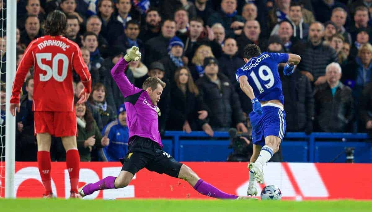 LONDON, ENGLAND - Tuesday, January 27, 2015: Liverpool's goalkeeper Simon Mignolet makes a save against Chelsea's Diego Costa during the Football League Cup Semi-Final 2nd Leg match at Stamford Bridge. (Pic by David Rawcliffe/Propaganda)
