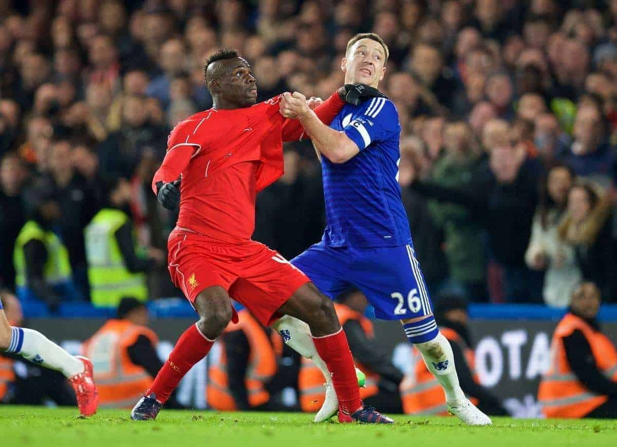 LONDON, ENGLAND - Tuesday, January 27, 2015: Liverpool's Mario Balotelli and Chelsea's captain John Terry during the Football League Cup Semi-Final 2nd Leg match at Stamford Bridge. (Pic by David Rawcliffe/Propaganda)