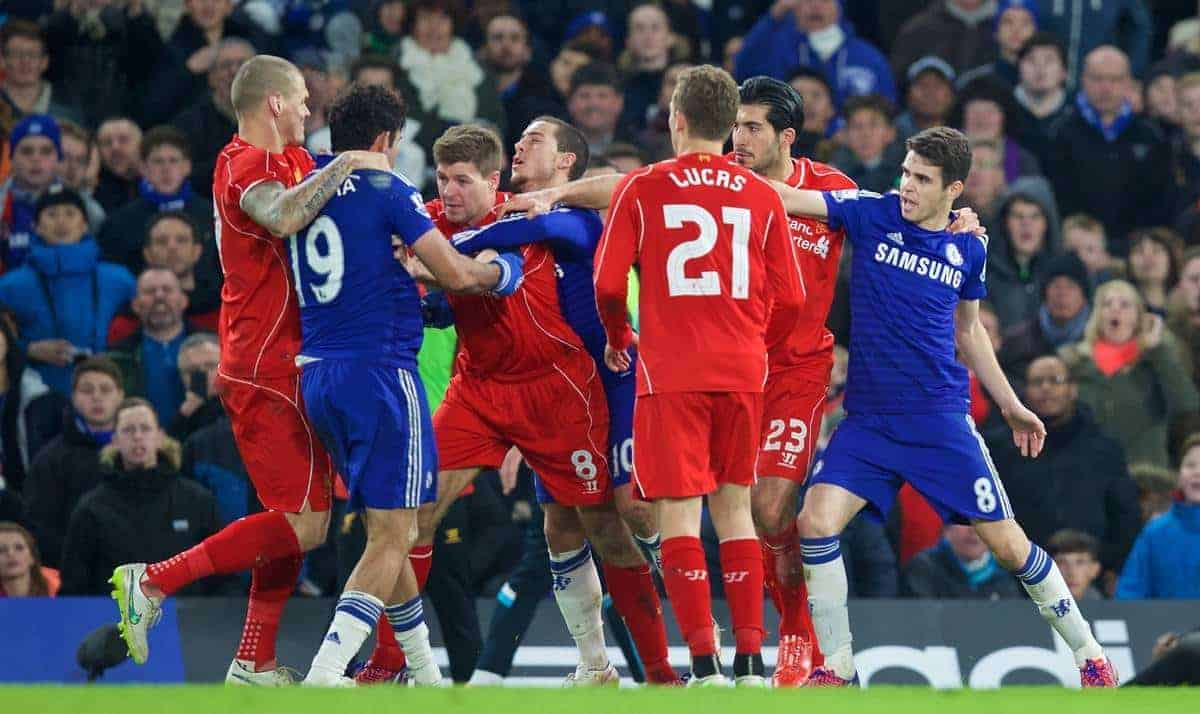 LONDON, ENGLAND - Tuesday, January 27, 2015: Liverpool's captain Steven Gerrard clashes with Chelsea's Diego Costa during the Football League Cup Semi-Final 2nd Leg match at Stamford Bridge. (Pic by David Rawcliffe/Propaganda)
