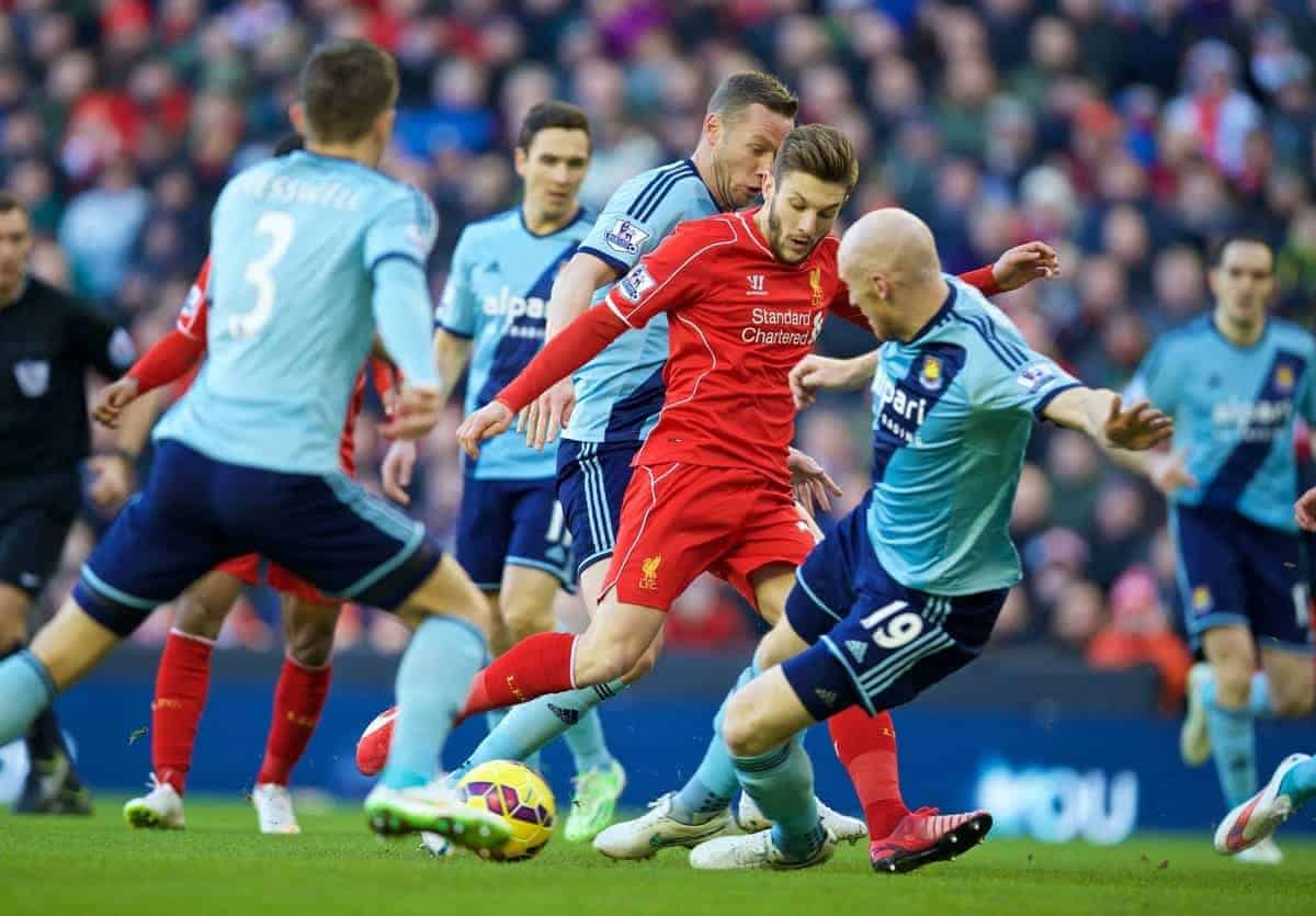 LIVERPOOL, ENGLAND - Saturday, January 31, 2015: Liverpool's Adam Lallana in action against West Ham United during the Premier League match at Anfield. (Pic by David Rawcliffe/Propaganda)